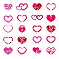 Heart icon set illustration on white background Stock Photo