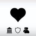 Heart Icon, vector illustration. Flat design style