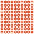 100 heart icons hexagon orange