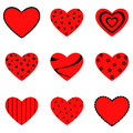 Heart icons set of nine red hearts Stock Photo