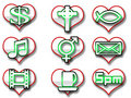 Heart icons with symbols Royalty Free Stock Photography