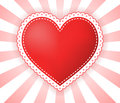 Heart illustration with dotted border on red white rays background Stock Images