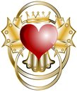 Heart image representing an with crown and abstract golden decorations Royalty Free Stock Images