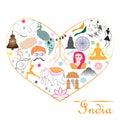 Heart India symbols namaste tricolor peacock yoga