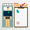 Heart infochart in flat design. Checkup clipboard.
