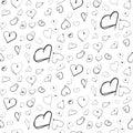 Heart ink imitation black seamless pattern