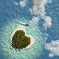 Heart island with speeding boat Stock Photo