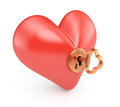 Heart with key on white background d render Stock Photos