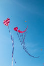 Heart kites flying with blue sky background Royalty Free Stock Photos