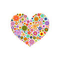 Heart laid out various flowers of different colors on white Royalty Free Stock Photo