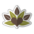 Heart with leafs emblem