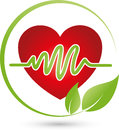 Heart and leaves, nature and health logo