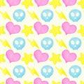 Heart, lightning, star, skull watercolor seamless pattern