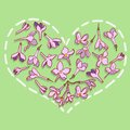 Heart from lilac flowers vector illustration Stock Images