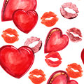 Heart and lips , watercolor