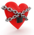 Heart and lock clipping path included image with Stock Photos