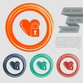 Heart lock icon on the red, blue, green, orange buttons for your website and design with space text.