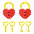 Heart lock with key.