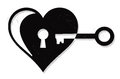 Heart lock and key illustration of with keyhole Royalty Free Stock Images