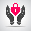 Heart lock shape icon in careful hands illustration Stock Images