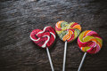 Heart lollipop candy concept love valentine on wood background Royalty Free Stock Images