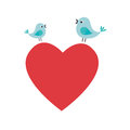 Heart love with birds card icon Royalty Free Stock Photo