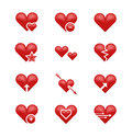 Heart love emoji, emoticons vector set