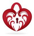 Heart love lock logo