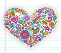 Heart Love Psychedelic Doodles Vector Set Royalty Free Stock Photo