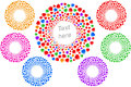 Heart Love Sign Frame Valenitines Banner Icon Circle Ring Set