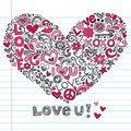 Heart Love Sketchy Doodles Vector Illustration Royalty Free Stock Image