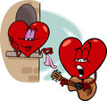 Heart love song cartoon illustration of troubadour character singing on valentine day Stock Photography