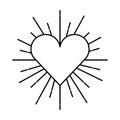 Heart love sunburst icon