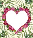 heart love watercolor painted flowers peonies roses on a background of leaves of palm branches Royalty Free Stock Photo