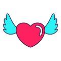 Heart love wings