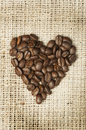 Heart made ​​of coffee beans Royalty Free Stock Photography