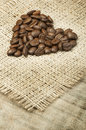 Heart made ​​of coffee beans Stock Photography