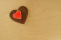 Heart made ​​of chocolate on top Royalty Free Stock Photos