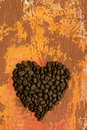 Heart made of coffee beans Stock Images