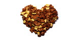Heart made from cornflakes Stock Photos