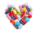 Heart made of different medicaments Royalty Free Stock Photo