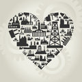 Heart made of factories a vector illustration Stock Images