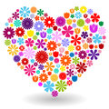 Heart made of flowers shape by colorful with shadow on white Royalty Free Stock Photos