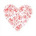 Heart made of handprints