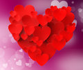 Heart made with hearts means romanticism meaning valentines and love Stock Photography