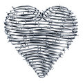Heart made out of barbed wires Royalty Free Stock Photo