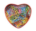 Heart made of paper clips Stock Photos
