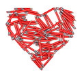 Heart made of pencils representing love for writing journalism learning and such d render Royalty Free Stock Images