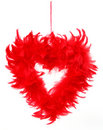 Heart made from red feathers Royalty Free Stock Photo