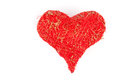 Heart made of red threads over white background Stock Images